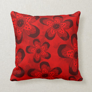 Retro Mod Floral Pattern-Black Red Throw Pillow