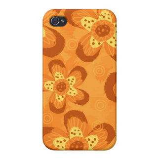Retro Mod Floral Pattern-Orange Red iPhone 4 Covers