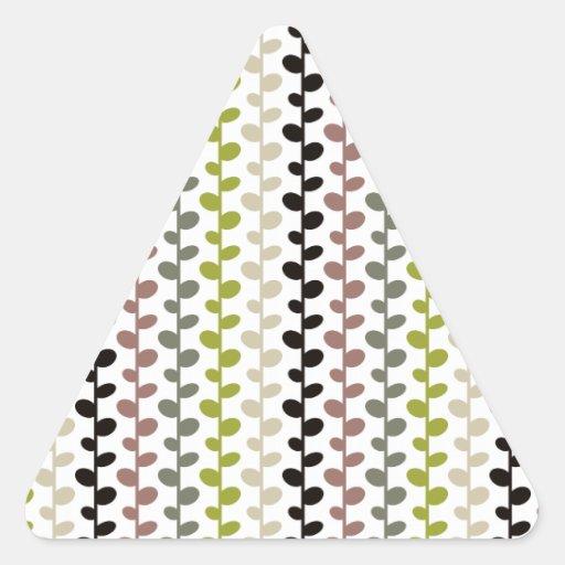Retro Mod Multicolored Leaf Pattern Triangle Sticker
