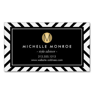 Retro Mod Pattern Gold Monogram Magnetic Magnetic Business Card