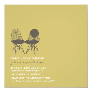 Retro Mod Perfect Chair Pair Eames Save The Date Card