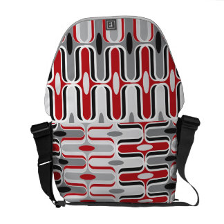 Retro Mod Zig Zag Ogee Pattern Red Black Art Messenger Bag