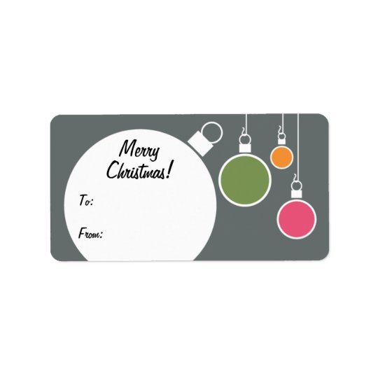 Retro Modern Christmas Gift Tag - Grey