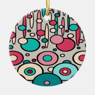 Retro Modern Circles Round Ceramic Ornament