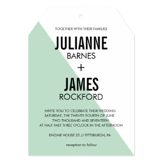 Retro Modern Color Block Wedding Invitation (Mint)