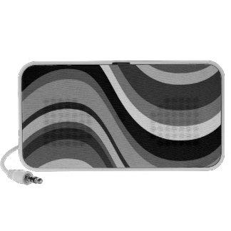 Retro modern curves, waves black grey, white, gift travelling speaker