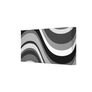 Retro modern curves, waves black grey, white, gift stretched canvas print