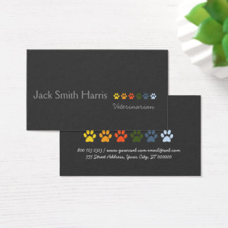 Retro Modern Elegant Pets Paws Professional Business Card