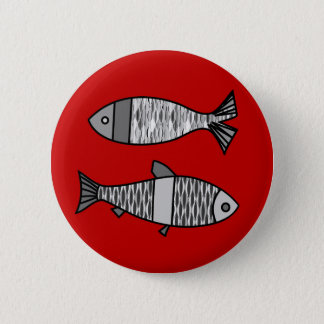 Retro Modern Fish, Deep Red and Gray / Grey 2 Inch Round Button