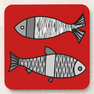 Retro Modern Fish, Deep Red and Gray / Grey Coasters