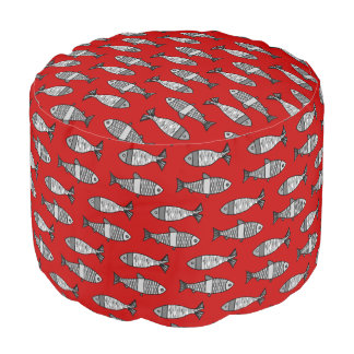 Retro Modern Fish, Deep Red and Gray / Grey Pouf