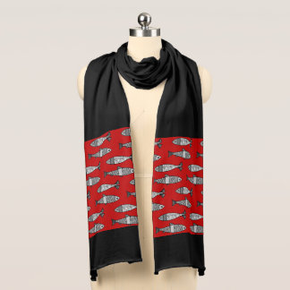 Retro Modern Fish, Deep Red and Gray / Grey Scarf
