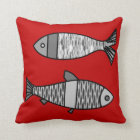 Retro Modern Fish, Deep Red and Grey / Grey Throw Pillow