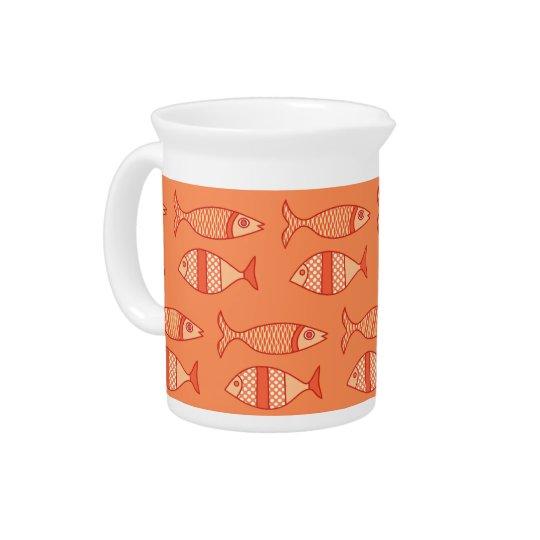 Retro Modern Fish, Light Coral Orange & Tangerine Pitchers