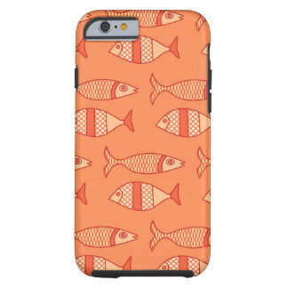 Retro Modern Fish, Light Coral Orange & Tangerine Tough iPhone 6 Case