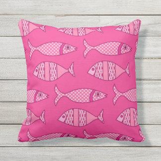 Retro Modern Fish Print, Fuchsia & Light Pink Outdoor Pillow