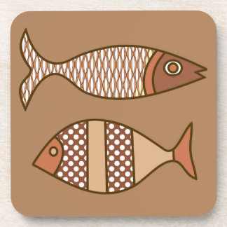 Retro Modern Fish, Tan, Beige and Light Brown Drink Coasters