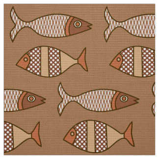Retro Modern Fish, Tan, Beige and Light Brown Fabric