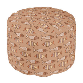 Retro Modern Fish, Tan, Beige and Light Brown Pouf