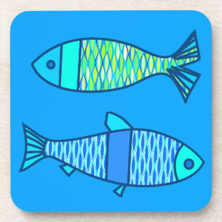 Retro Modern Fish, Turquoise and Cerulean Blue Drink Coasters