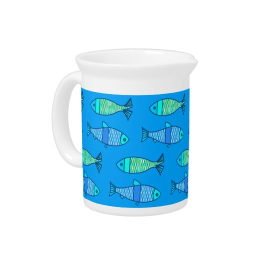Retro Modern Fish, Turquoise and Cerulean Blue Pitcher