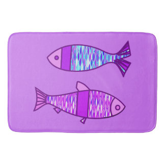 Retro Modern Fish, Violet, and Amethyst Purple Bathroom Mat
