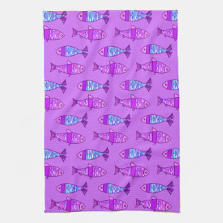 Retro Modern Fish, Violet, and Amethyst Purple Kitchen Towel