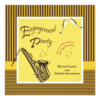 Retro Modern Jazz Engagement Party Card