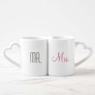 Retro Modern Mr. and Mrs. Coffee Mug Set