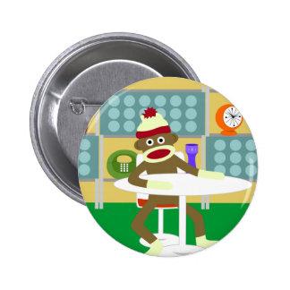 Retro Modern Sock Monkey 2 Inch Round Button