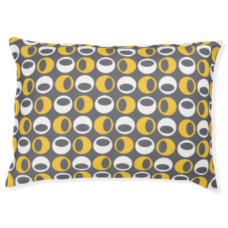 Retro Modern Spheres Pattern Dog Bed - Yellow/Gray Large Dog Bed