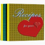 Retro Modern Yellow Pattern & Heart Recipe Binder