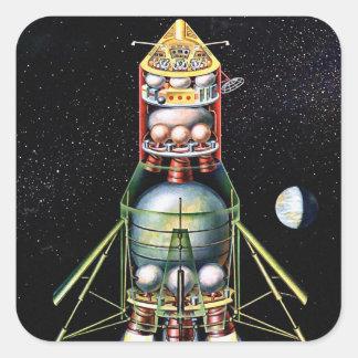 Rétro module lunaire vintage de Sci fi de kitsch Stickers Carrés