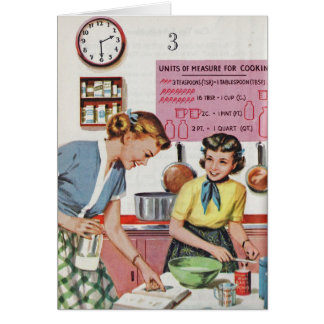 Retro Mom - Cooking in the Kitchen, Card