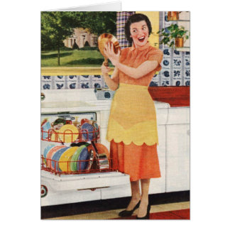 Retro Mom Wants Help with the Dishes, Card