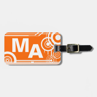 Retro Mongram Orange Luggage Tag