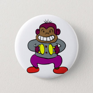 Retro Monkey with Cymbals Toy 2 Inch Round Button