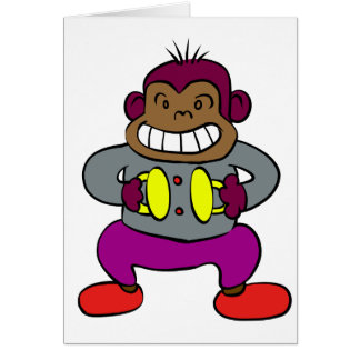 Retro Monkey with Cymbals Toy Card