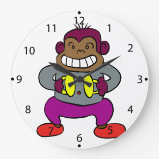 Retro Monkey with Cymbals Toy Large Clock