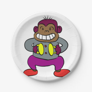 Retro Monkey with Cymbals Toy Paper Plate