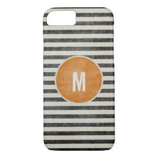 Retro Monogram Weathered Black White Stripes iPhone 7 Case