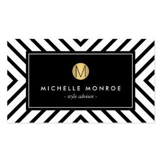 Rétro monogramme noir et blanc d'or de motif de cartes de visite professionnelles
