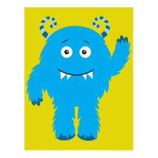 Rétro monstre bleu mignon cartes postales