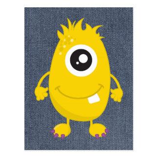 Rétro monstre jaune mignon cartes postales