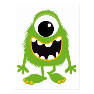 Rétro monstre mignon vert cartes postales