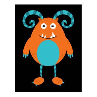 Rétro monstre orange mignon cartes postales