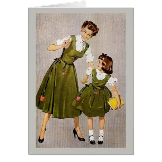 Retro Mother & Daughter, Card
