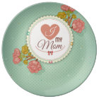 Retro mother's day flower pattern plate