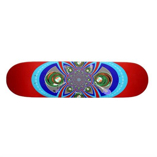 Rétro motif bleu blanc rouge de plaque tournante skateboards personnalisés