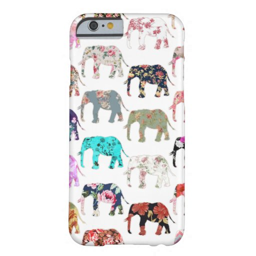 Rétro motif floral lunatique Girly d'éléphants Coque iPhone 6 Barely There